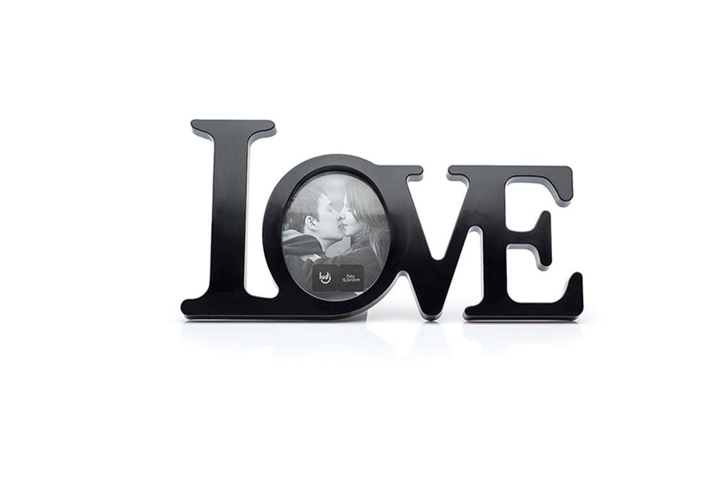 Porta Retrato Letras Love Preto